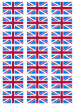 Great Britain Claret and Blue Flag Stickers - 21 per sheet